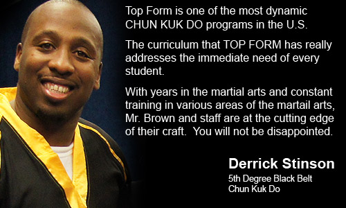 Derrick Stinson, Houston, TX endorsing Steve Brown and Top Form Karate